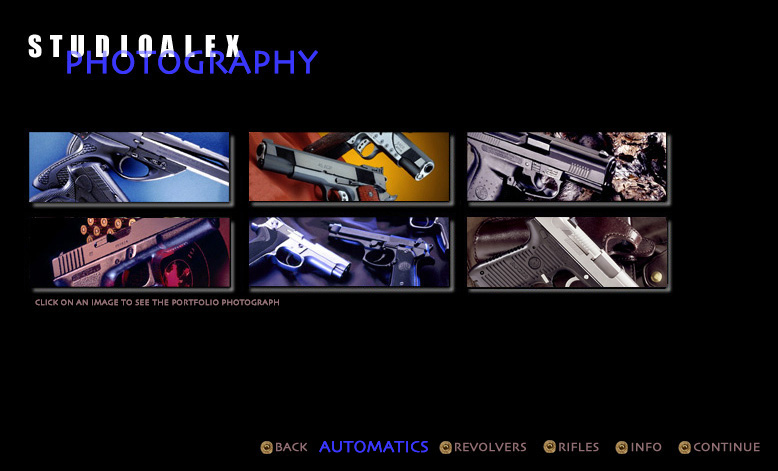 a selection page of six photos of automatic handguns be studioalex